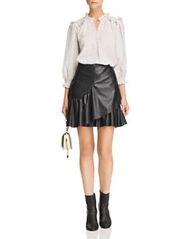 Rebecca Taylor - Vegan-Leather Ruffle Skirt