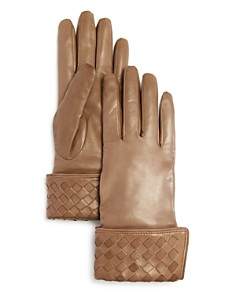 Bloomingdale's Woven Detail Leather Gloves - 100% Exclusive _0