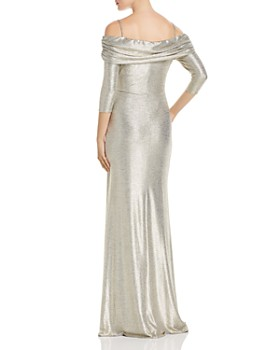 Avery G - Off-the-Shoulder Metallic Knit Column Gown