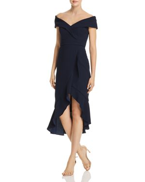 AVERY G OFF-THE-SHOULDER RUFFLE FRONT DRESS