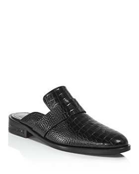 Freda Salvador - Women's Keen Almond Toe Croc-Embossed Leather Mules
