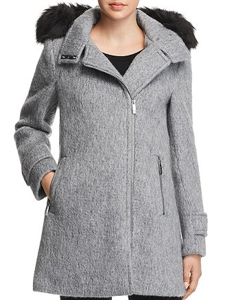 Calvin Klein - Faux Fur Trim Hooded Coat