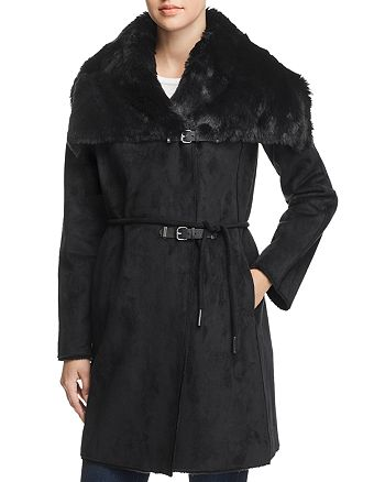 Calvin Klein - Faux Shearling Double Belted Coat