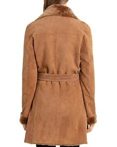 BAGATELLE.CITY - Lamb Shearling Wrap Coat