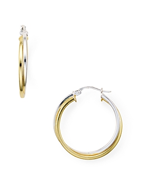 Double Tube Hoop Earrings in 18K Gold-Plated Sterling Silver and Sterling Silver
