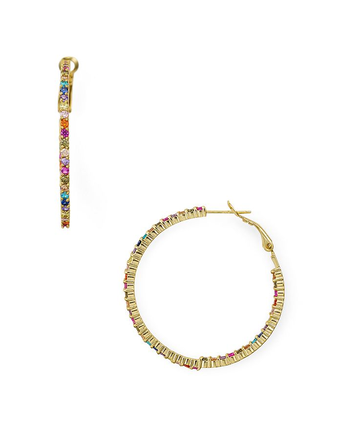 Aqua MULTICOLOR PAVE HOOP EARRINGS IN 18K GOLD-PLATED STERLING SILVER OR STERLING SILVER - 100% EXCLUSIVE