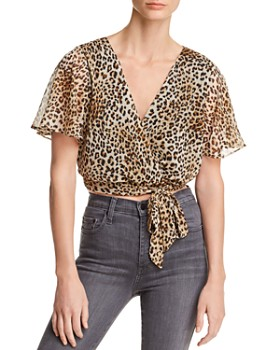 AQUA - Leopard Print Faux-Wrap Cropped Top - 100% Exclusive