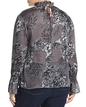 VINCE CAMUTO Plus - Smocked Floral-Print Top