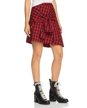 DIVINE HÉRITAGE Faux-Sleeve Plaid Skirt in Garnet