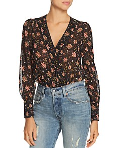 JOA - Glitter Detail Floral Print Bodysuit