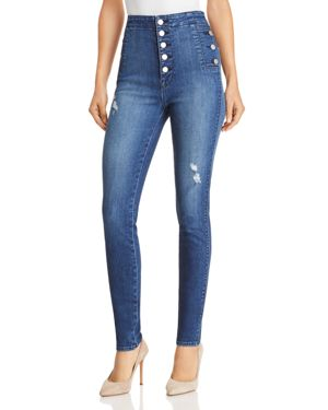 NATASHA BUTTON SKY HIGH SKINNY JEANS IN MYSTIC WAVE