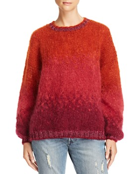 Rose Carmine - Shimmer-Trim Ombré Sweater