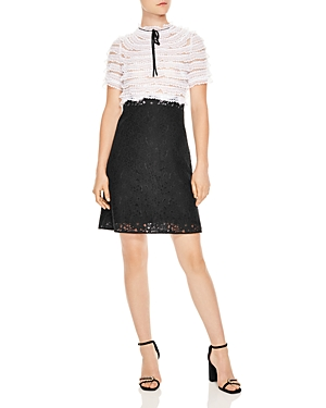 Sandro Helsinki Two-Tone Lace Dress