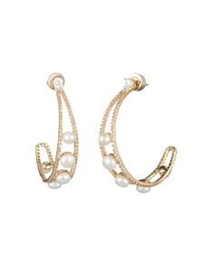 Carolee - Cultured Freshwater Pearl Hoop Earrings