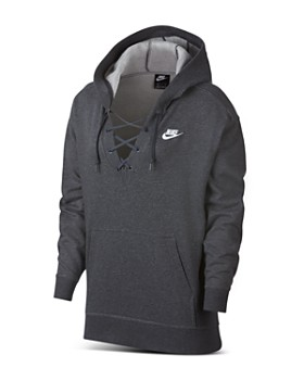 Nike - Club Lace-Up Hooded Sweatshirt