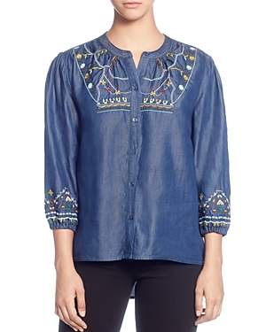 Catherine Catherine Malandrino Embroidered Button-Down Peasant Top
