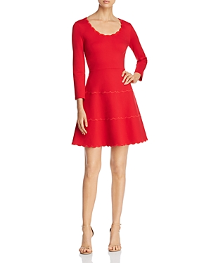 Kate Spade Downs KATE SPADE NEW YORK SCALLOPED PONTE FIT-AND-FLARE DRESS