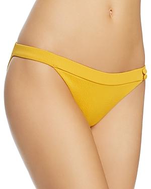 Red Carter Button-Detail Textured Bikini Bottom