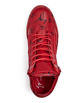 Giuseppe Zanotti - Men's Logo Print Leather Tonal High Top Sneakers