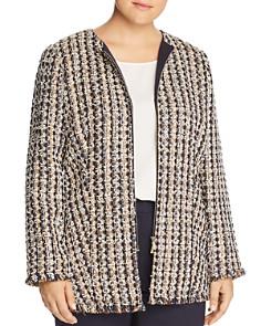 Lafayette 148 New York Plus - Frayed Tweed Zip Jacket