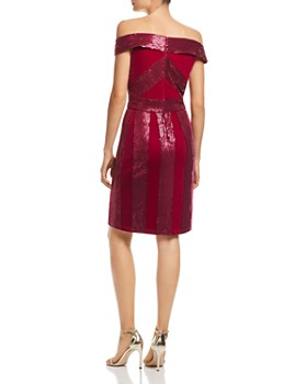 Tadashi Shoji - Off-the-Shoulder Sequin & Velvet Dress