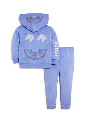 Butter Girls Rainbow Unicorn Embellished Hoodie  Sweatpants Set  Little Kid