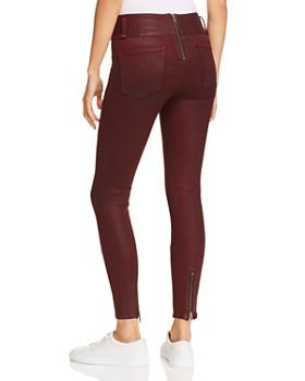 Hudson - High Rise Moto Zip Skinny Jeans in Port Wax