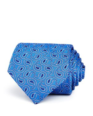 TURNBULL & ASSER Tossed Paisley Pines Silk Classic Tie in Blue