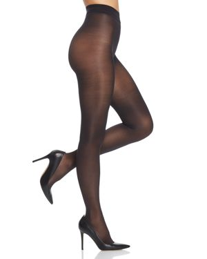Evolution Semi-Sheer Jersey Tights in Black from DKNY