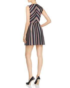 PAULE KA - Striped Jacquard A-Line Mini Dress