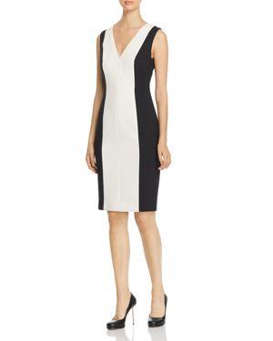 PAULE KA Color-Blocked Sheath Dress in Multi