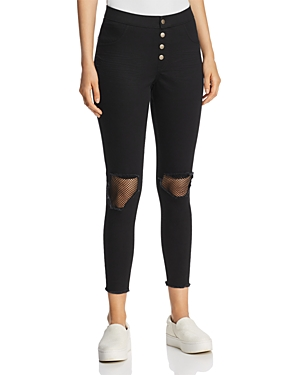 Hue Zeza B by Hue High-Waisted Busted Mesh Knee Denim Skimmer Leggings
