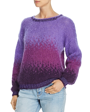 Rose Carmine Metallic-Trimmed Textured Ombre Sweater