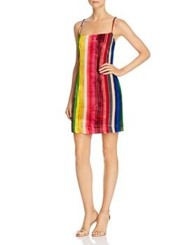 MILLY - Rainbow Stripe Velvet Mini Slip Dress