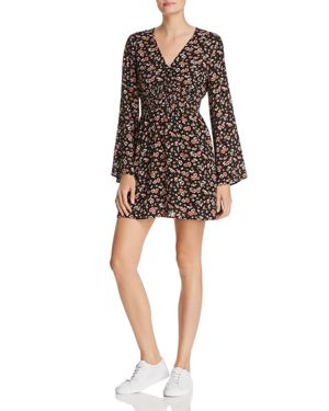 EN CREME Floral-Print Dress in Black Floral