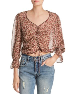 Arielle Ruched Floral-Print Top, Merlot