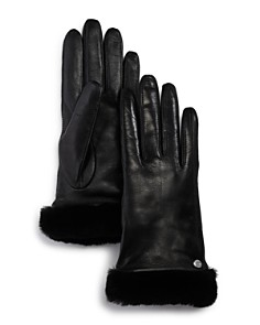 UGG® - Shorty Shearling-Cuff Leather Tech Gloves
