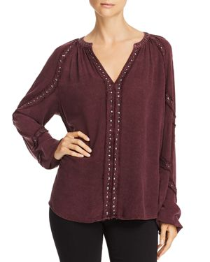 VINTAGE HAVANA Frayed Studded Top in Cabernet