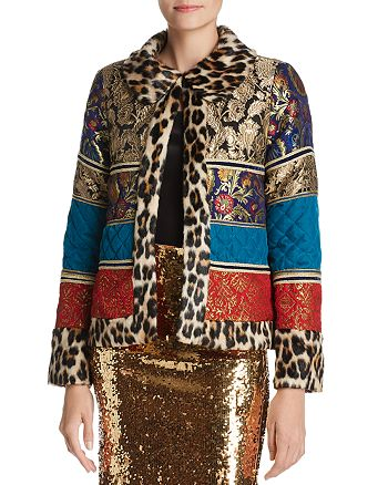 Alice and Olivia - Glennie Faux-Fur Trim Patchwork Jacket