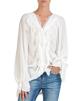 The Kooples - Silk Ruffle-Trim Blouse