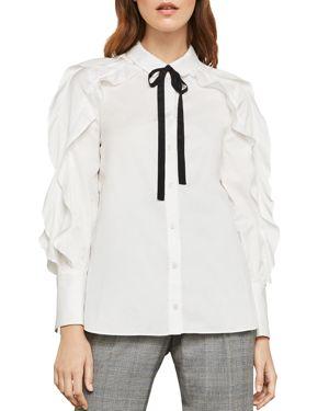BCBG MAX AZRIA Tie-Neck Button-Down Cotton Ruffle Blouse in White