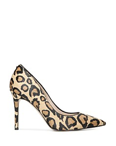 Sam Edelman - Women's Hazel Pointed Toe Leopard-Print Calf Hair High-Heel Pumps