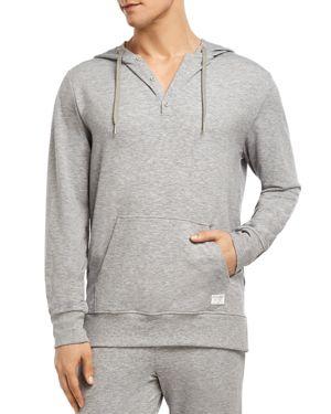 2(X)IST Men'S Hooded Henley Sweatshirt in Heather Grey