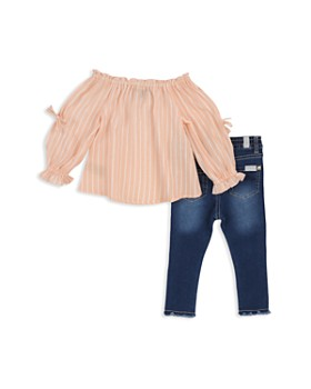 7 For All Mankind - Girls' Striped Off-the-Shoulder Top & Frayed Jeans Set - Baby