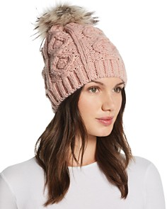 Echo - Fur Pom-Pom Cable-Knit Beanie - 100% Exclusive