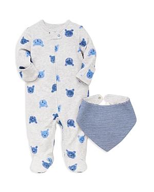 Little Me Boys BearPrint Footie  Striped Bib Set  Baby