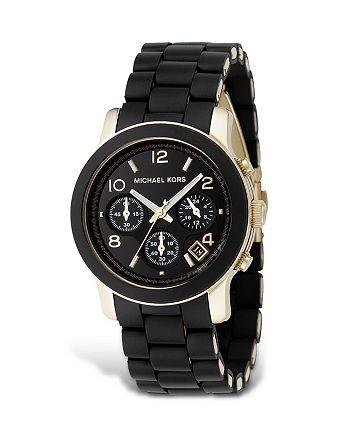 Michael Kors - Michael Kors Black Rubber Strap Chronograph Watch, 39 mm