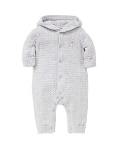 Little Me - Unisex Cable-Knit Hooded Teddy Bear Coverall - Baby