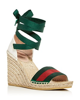 Gucci - Women's Ankle Tie Platform Wedge Espadrille Sandals