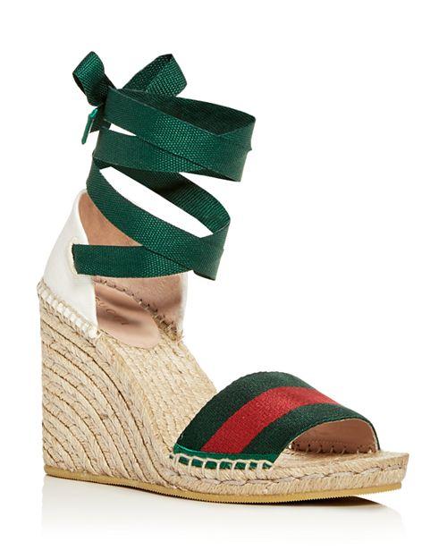 d95be9822db Gucci Women S Ankle Tie Platform Wedge Espadrille Sandals